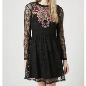 🎉 Topshop Black Lace Embroidered Floral Dress 12